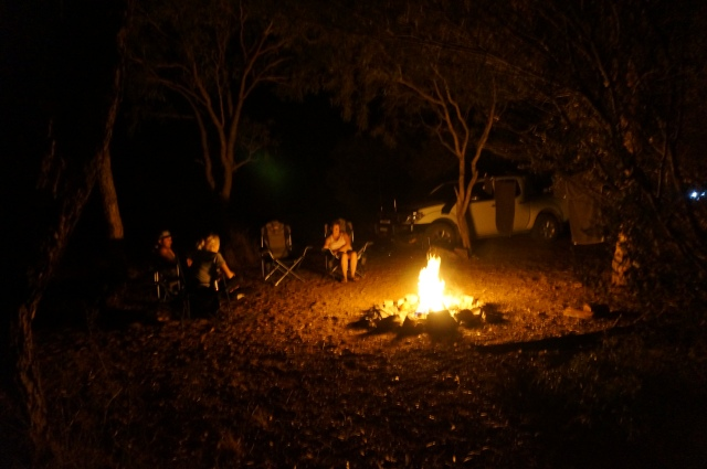 Thursday night campfire with Tim sand Katie.