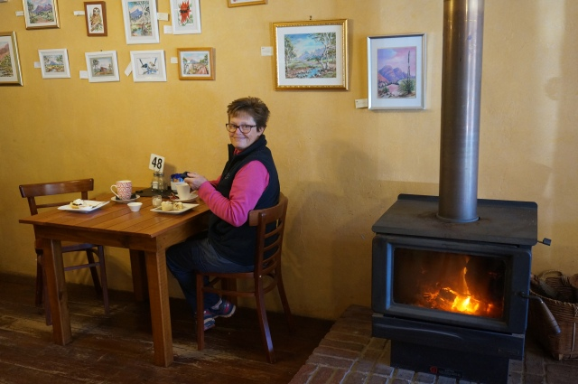 Morning tea by the fire...caught with a mouth full of scone.