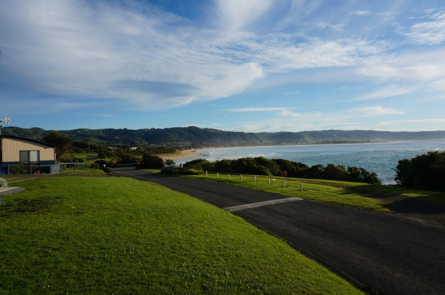 The view from Marengo CP is across to Apollo Bay.